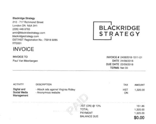 Invoice apparently between Paul Van Meerbergen and Blackridge Strategy.