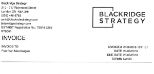 Blackridge invoice