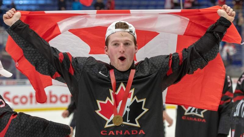 Alexis Lafreniere added another piece of silverware to his already bursting trophy case when he picked up the Jean-Beliveau trophy as the QMJHL's top scorer. THE CANADIAN PRESS/Ryan Remiorz
