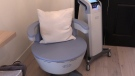 'The Kegel Throne,' a high tech chair used for treatment of bladder leaks, is seen in London, Ont. on Monday, Jan. 13, 2020. (Celine Zadorsky / CTV London)