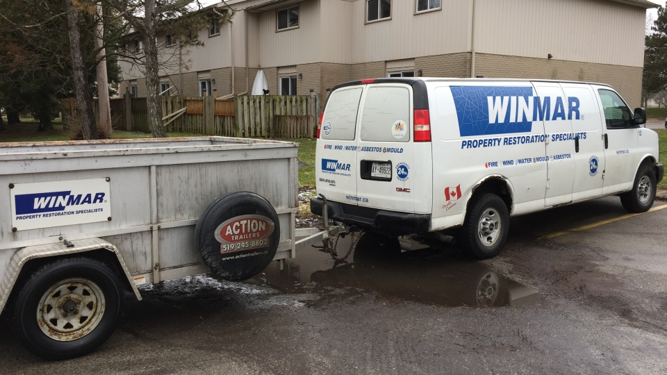 Winmar, a restoration company, responds for flood damage in London, Ont. on Monday, Jan. 13, 2020. (Bryan Bicknell / CTV London)