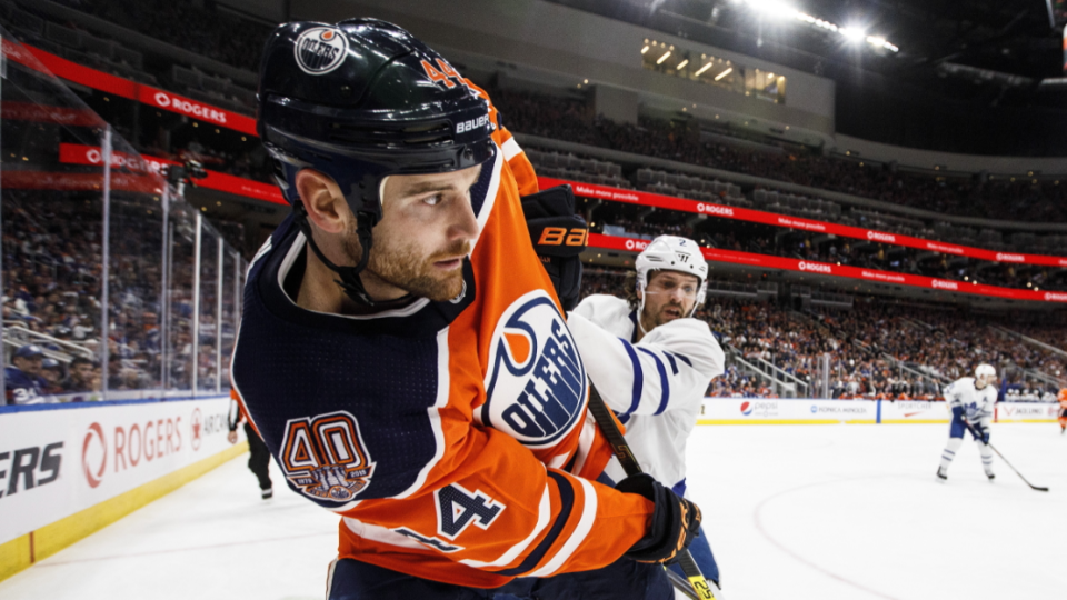 Zack Kassian, seen here in a March 2019 game, is in his fifth season with the Edmonton Oilers (THE CANADIAN PRESS/Jason Franson)