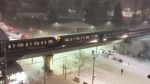Video posted to Twitter on Sunday night shows sparks flying from the SkyTrain tracks at Holdom Station in Burnaby, B.C. (Twitter user @gukov)