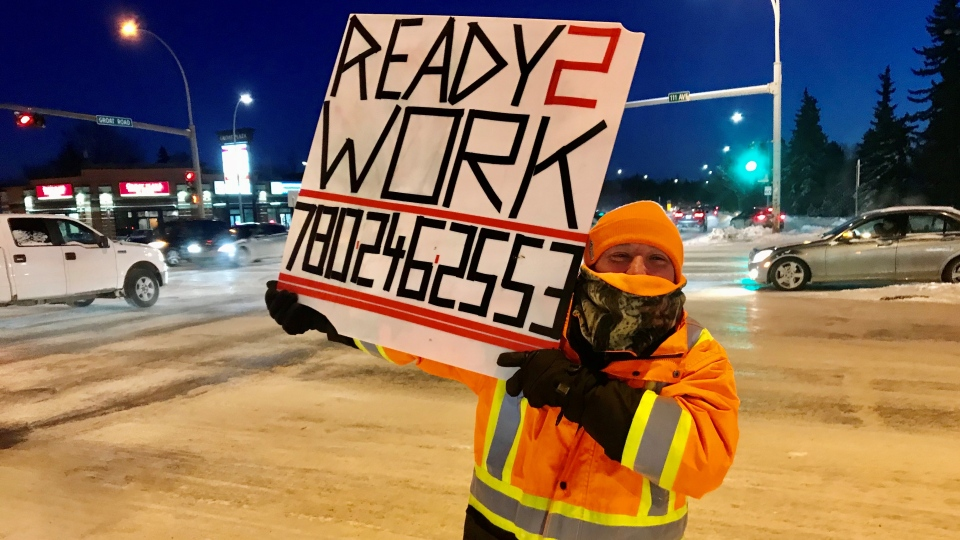 Brian Wolfe took to the corner of St. Albert Trail and 111 Avenue on Jan. 13, 2020, to advertise his availability, after being unable to find welding work for nine months.