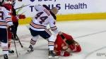 Kassian, Tkachuk, fight, check, Oilers, Flames