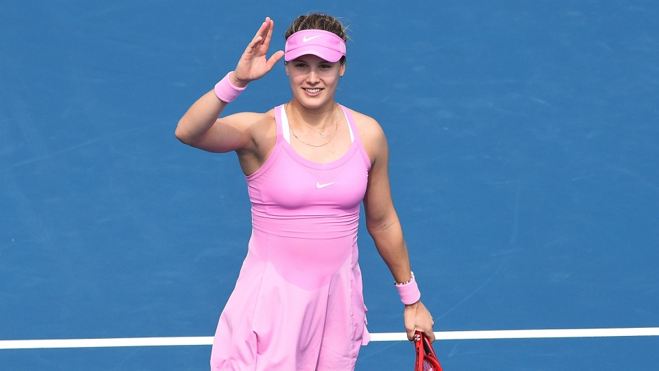 Canada's Eugenie Bouchard celebrates winning her second round singles match against France's Caroline Garcia at the ASB Classic in Auckland, New Zealand, Wednesday, Jan. 8, 2020. (Chris Symes/Photosport via AP)
