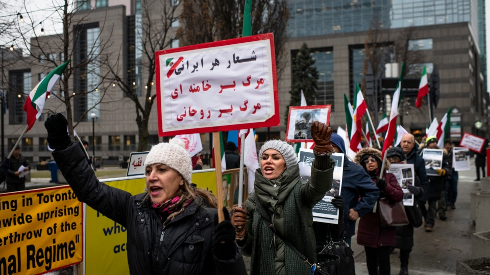 A rally in solidarity with Iranian protests takes place in Mel Lastman Square in Toronto on Monday January 13, 2020. THE CANADIAN PRESS/Aaron Vincent Elkaim