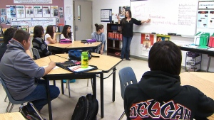Indigenous students learn about their culture.