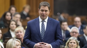 Leader of the Opposition Andrew Scheer announces he will step down as leader of the Conservatives, Thursday December 12, 2019 in the House of Commons in Ottawa. THE CANADIAN PRESS/Adrian Wyld