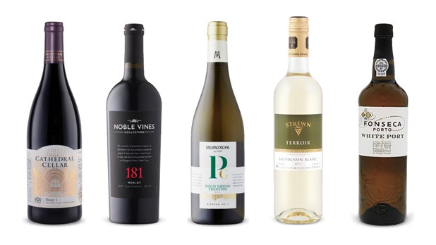 Cathedral Cellar Shiraz 2017, Noble Vines Collection 181 Merlot 2016, Mezzacorona Trentino Riserva Pinot Grigio 2017, Strewn Winery Terroir Sauvignon Blanc 2018, Fonseca Porto White Port