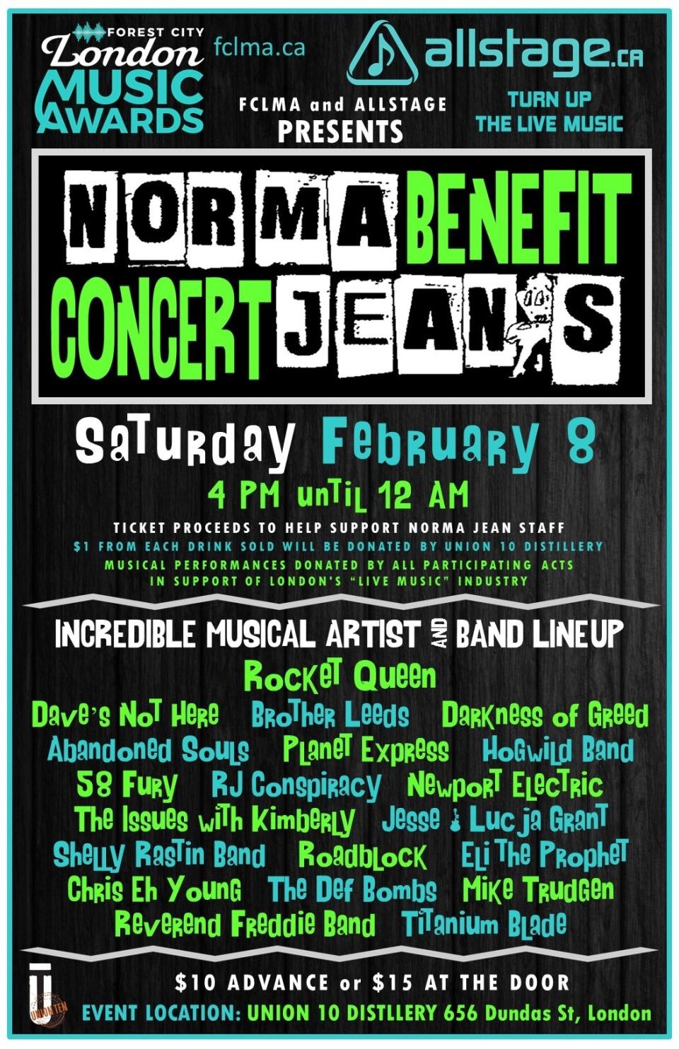 Norma Jean's benefit concert poster
