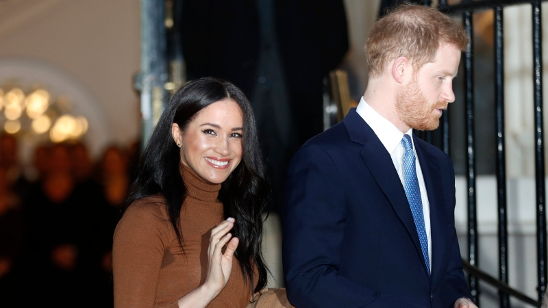 In this Jan. 7, 2020, file photo, Britain's Prince Harry and Meghan, Duchess of Sussex leave after visiting Canada House in London, after their recent stay in Canada. (AP Photo/Frank Augstein, File)
