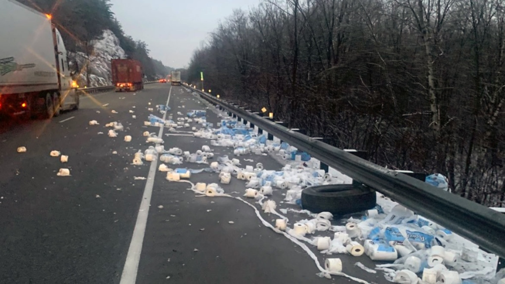 Toilet paper mess on Hwy 401