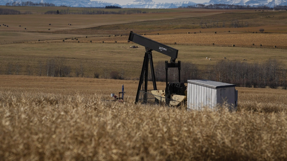 File photo. A decommissioned pumpjack is shown at a well head on an oil and gas installation near Cremona, Alta., Saturday, Oct. 29, 2016. (THE CANADIAN PRESS/Jeff McIntosh)