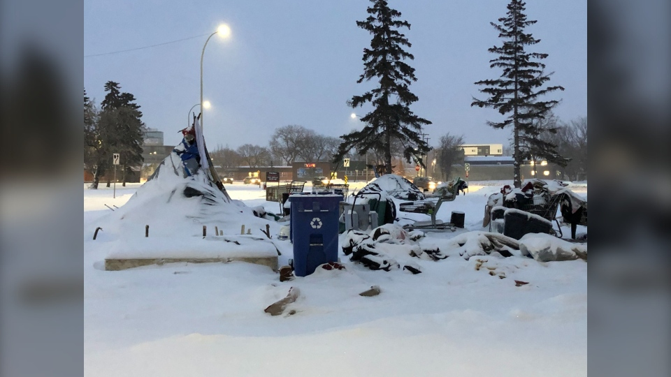 A teepee that had been set up as a homeless shelter was destroyed by fire on Tuesday, Jan. 14 (Image: Alex Brown/CTV News Winnipeg)