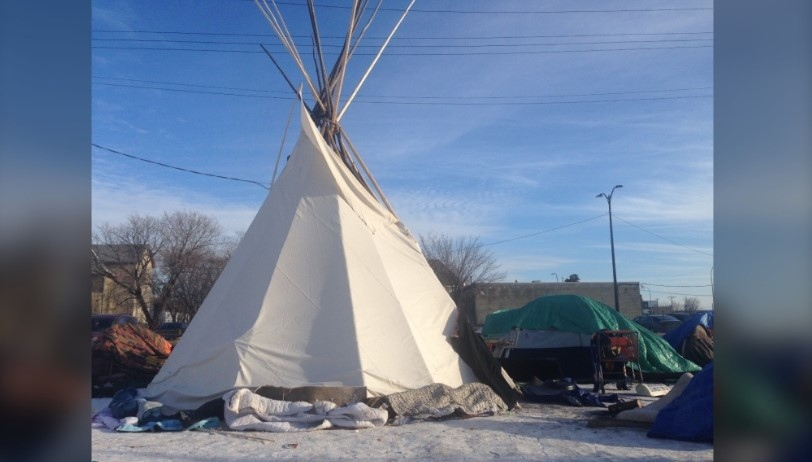 This teepee was set up to shelter the homeless at a site near the Disraeli Bridge in December of 2019 (Image: CTV News)