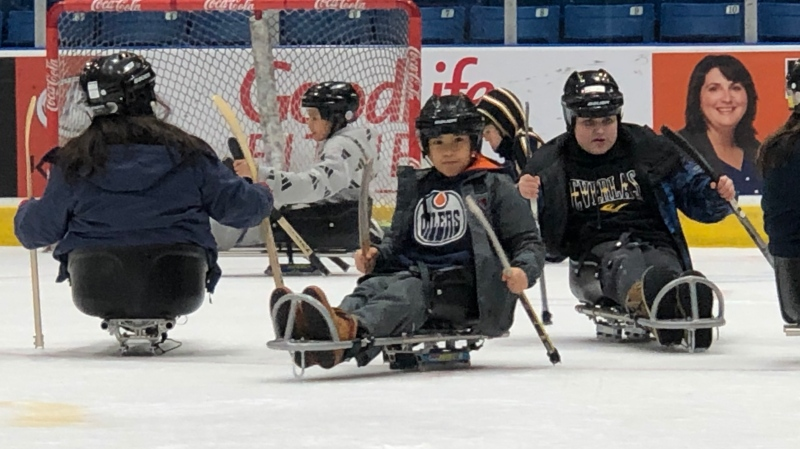 Prince Albert children try out para ice hockey. (Lisa Risom/CTV Prince Albert)