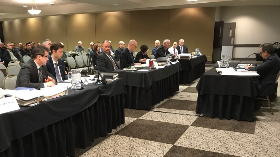 An arbitration hearing over contentious changes to the Winnipeg police pension plan continues in Winnipeg on Jan. 15, 2020. (Source: Josh Crabb/ CTV News Winnipeg)