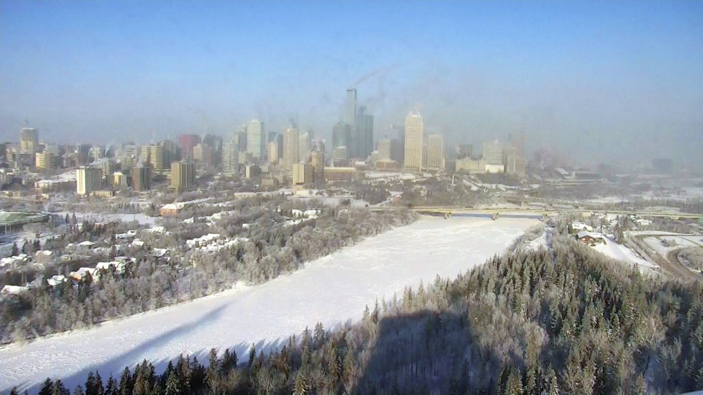 Edmonton skyline on a cold winter day.
