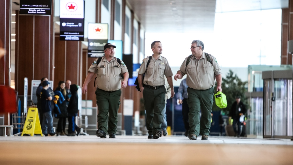 Terry White, Kirk Webster & Paul Schnurr of the Nova Scotia Department of Lands and Forestry depart for Australia From Halifax Stanfield International Airport in Halifax, N.S., on Wednesday, Jan. 15, 2020. (THE CANADIAN PRESS/Riley Smith)