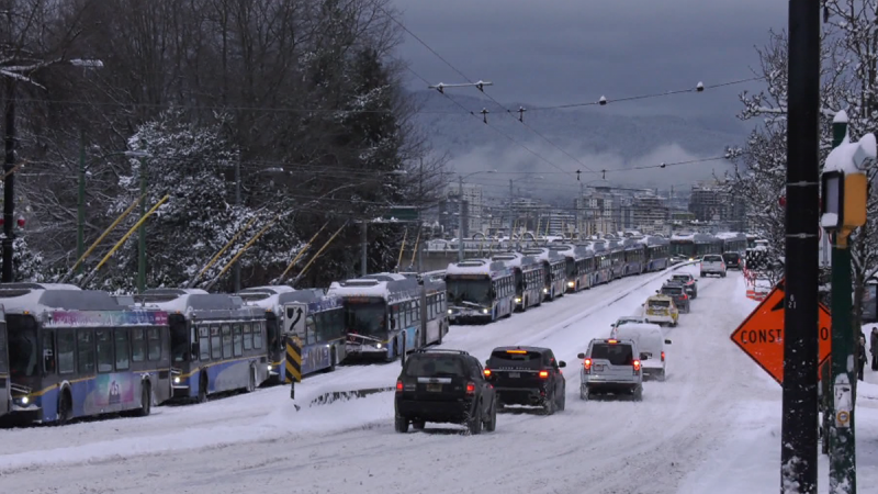 Video shows more than dozen buses stuck
