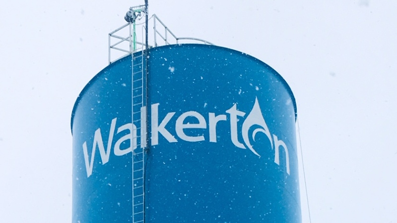 The water tower in Walkerton, Ont. is seen in this photo from the Municipality of Brockton.