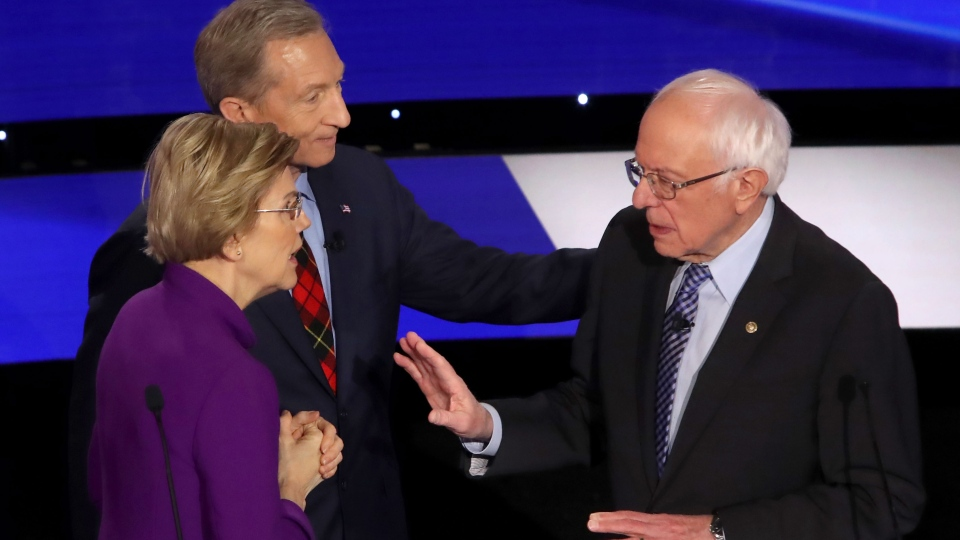 In a tense and dramatic exchange in the moments after the Democratic debate Tuesday night, Elizabeth Warren accused Bernie Sanders of calling her a liar on national television. (Victor J. Blue / CNN)