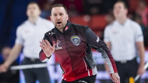 Team Canada skip Brad Gushue calls his shot during the Page Playoff 3 vs 4 draw against team wild-card at the Brier in Brandon, Man., on March, 9, 2019. THE CANADIAN PRESS/Jonathan Hayward