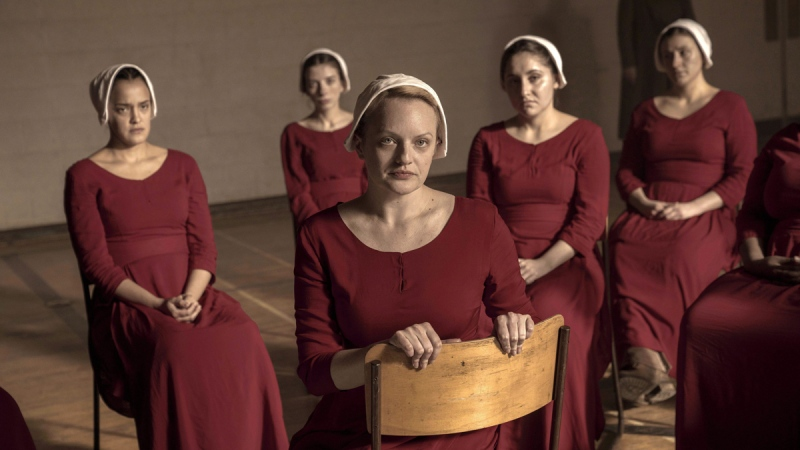 Elisabeth Moss, foreground, in a scene from 'The Handmaid's Tale.' (Sophie Giraud / Hulu via AP / THE CANADIAN PRESS )