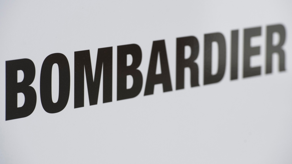 A Bombardier logo is shown at a Bombardier assembly plant in Mirabel, Que., Friday, October 26, 2018. (THE CANADIAN PRESS/Graham Hughes)