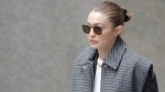 Gigi Hadid leaves a Manhattan courthouse for Harvey Weinstein's jury selection in his trial on rape and sexual assault charges in New York, Jan. 16, 2020. (Seth Wenig / AP)