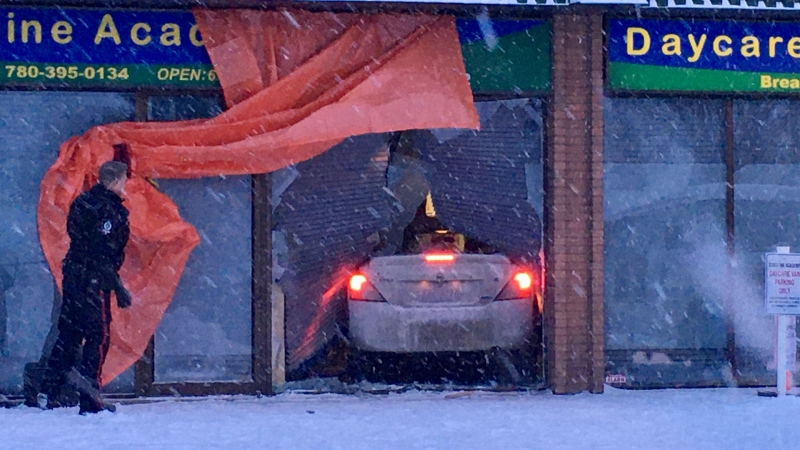 A vehicle went through the front window of a daycare on Jan. 16, 2020. (Evan Klippenstein/CTV News Edmonton)