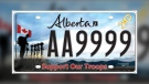 Alberta introduced the Support Our Troops licence plate in 2014 and nearly 45,000 of the plates have been sold (Government of Alberta)