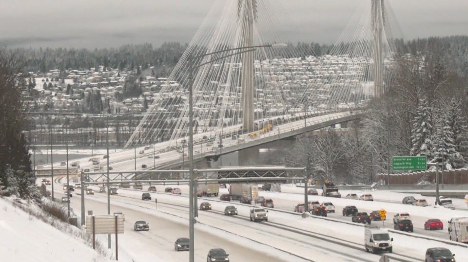 Snow in Metro Vancouver highways on Jan. 15, 2020.