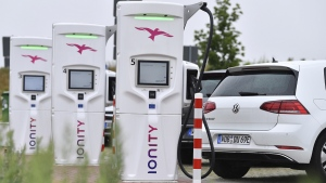 An Ionity E super fast charging park in Altenburg, Germany, on July 19, 2019. (Martin Schutt / dpa via AP)