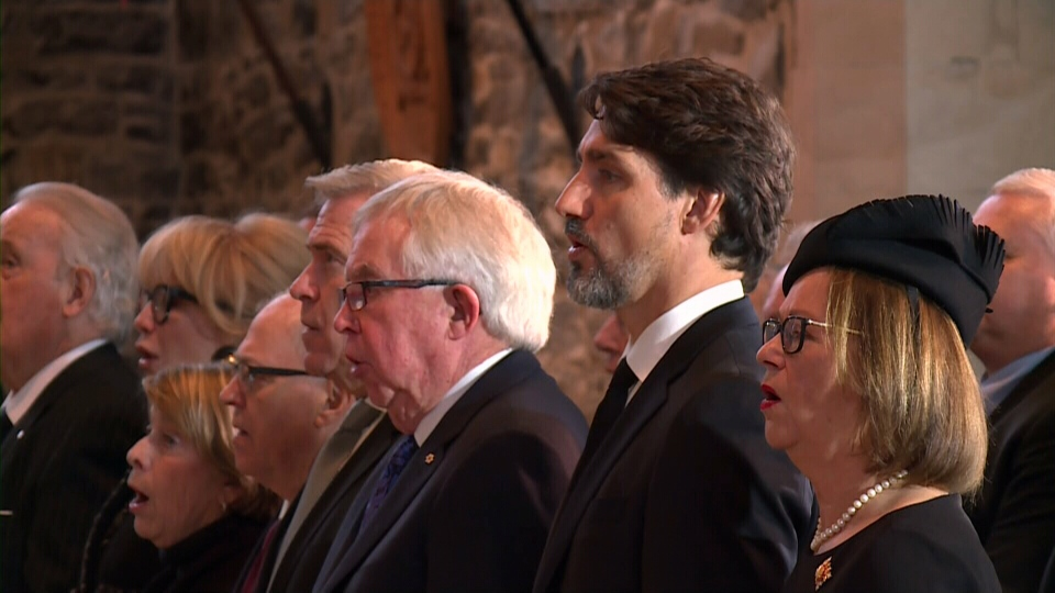 Prime Minister Justin Trudeau is seen among the family and politicians past and present who attended the funeral of former cabinet minister John Crosbie.