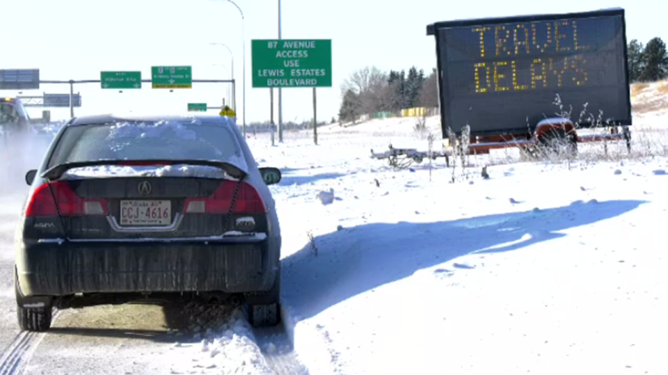 It was a treacherous commute for many Edmonton drivers as blowing snow combined with extreme cold. Jan. 16, 2020. (CTV News Edmonton)