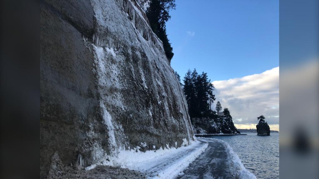Icy seawall- Park Board