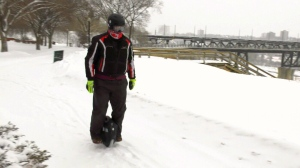 Terry O'Neill has been riding an electric unicycle to work for the last 587 days, even during this week's extreme cold snap in Alberta. Jan. 16, 2020. (CTV News Edmonton)