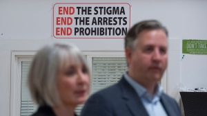 Federal Health Minister Patty Hajdu walks through a back alley after visiting the Molson Overdose Prevention Site in Vancouver's Downtown Eastside, Thursday, January 16, 2020. (THE CANADIAN PRESS/Jonathan Hayward)