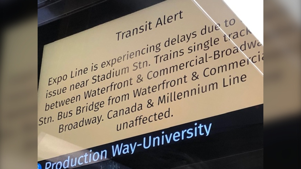A sign warning SkyTrain passengers about delays on the Expo Line is seen in this photo from Jan. 16, 2020. (Tanya Boguski/CTV)
