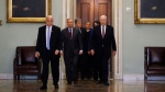 Supreme Court Chief Justice John Roberts is escorted by Sen. Lindsey Graham, R-S.C., center left, Sen. Patrick Leahy, D-Vt., right, Sen. Dianne Feinstein, D-Calif., and Sen. Roy Blunt, R-Mo., toward the Senate chamber at the U.S. Capitol in Washington, Thursday, Jan. 16, 2020. (AP / Matt Rourke)