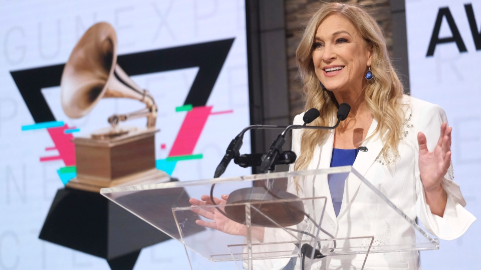 In this Wednesday, Nov. 20, 2019, file photo, Recording Academy President/CEO Deborah Dugan participates in the 62nd Grammy Awards nominations news conference at Studio 43 at CBS Broadcast Center in New York. (Photo by Charles Sykes/Invision/AP, File)