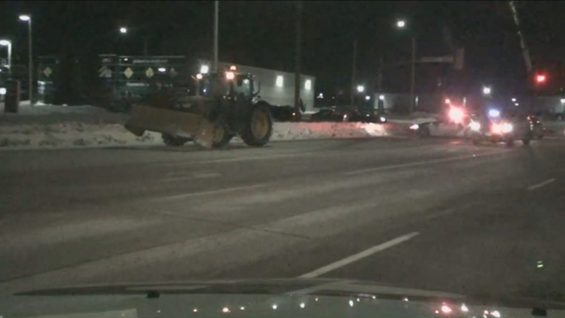 Two pedestrians were struck by a tractor in Barrie on Friday morning.