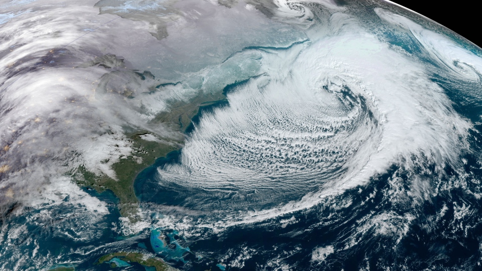 A large storm is seen approaching the Eastern coast of Canada and the U.S. in this satellite image taken at 9:20 a.m. EST on January 17, 2020. (NOAA)