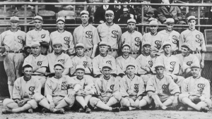 "The 1919 White Sox pose for a group photo. They would after this year be known as the ""Black Sox Scandal"" team because of the allegation that eight members of the team accepted bribes to lose the 1919 World Series.(Bettmann Archive/Getty Images)"
