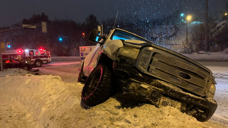 Truck involved in downtown Sudbury crash