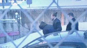 The suspect arrives at the Joliette courthouse on Jan. 17, 2020 (image: Kelly Greig / CTV News Montreal)