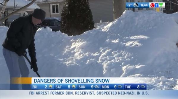 Dangers of shovelling snow