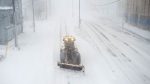 A snowplow clears a path in St. John's on Friday, January 17, 2020. The City of St. John's has declared a state of emergency, ordering businesses closed and vehicles off the roads as blizzard conditions descend on the Newfoundland and Labrador capital. THE CANADIAN PRESS/Andrew Vaughan
